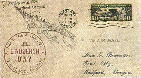 Cover flown by Lindbergh