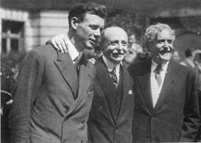 Herrick and Blériot welcome Lindberg in Paris, 1927.